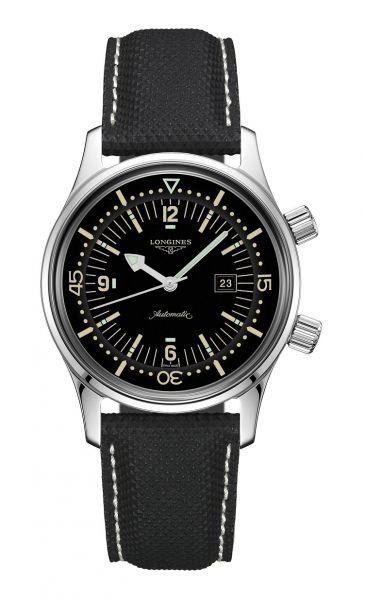Longines Legend Diver 36mm Automatik Schwarz Leder-Armband L3.374.4.50.0 | Uhren-Lounge