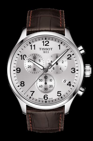 TISSOT CHRONO XL CLASSIC Silber Lederarmband Braun 45mm Quarz T116.617.16.037.00 Herrenuhr Chronograph | Uhren-Lounge