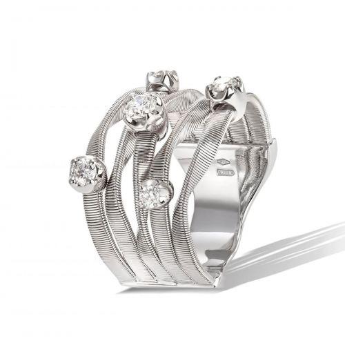 Marco Bicego Marrakech Couture Ring Weißgold mit Diamanten 5 Stränge AG157 B7 W