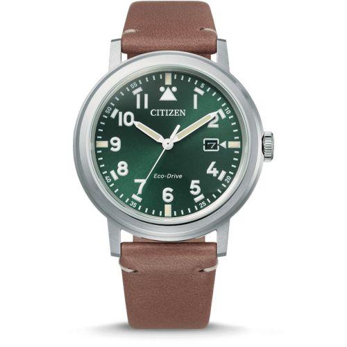 Citizen Eco-Drive Herrenuhr 42mm Grünes Zifferblatt & braunes Leder-Armband AW1620-13X   Uhren-Lounge