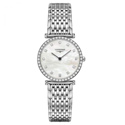 Longines La Grande Classique Damenuhr mit Diamanten Silber Perlmutt Quarz 29mm L4.523.0.87.6