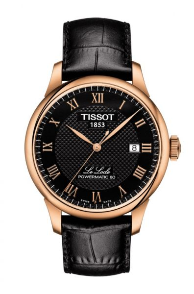 Tissot Le Locle Powermatic 80 Automatic Herrenuhr 39mm Rosegold mit schwarzem Zifferblatt & Leder-Armband T006.407.36.053.00