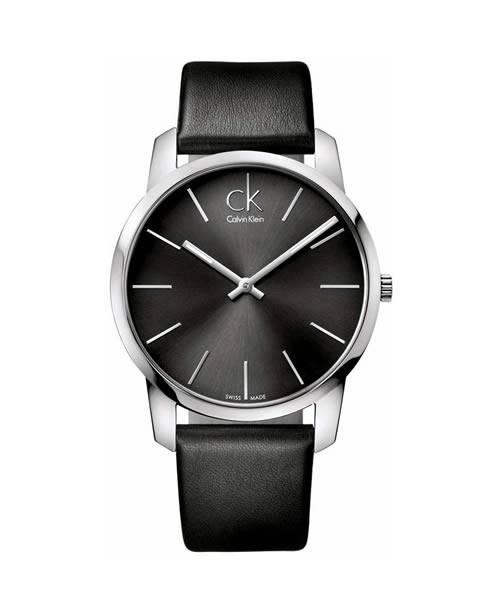 Calvin Klein Uhr Herren 43mm Quarz Edelstahl silber Zifferblatt & Leder-Armband schwarz city K2G21107 | Uhren-Lounge