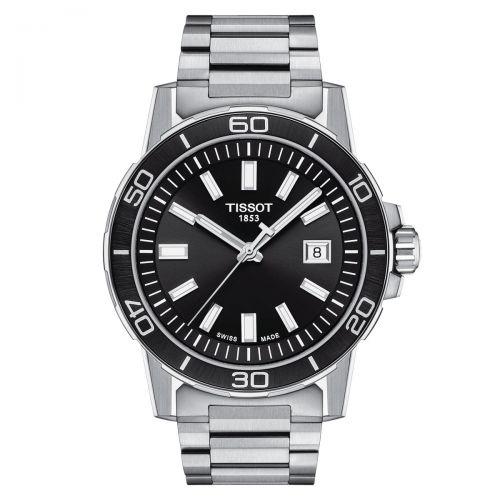Tissot Supersport Gent Herrenuhr Silber Schwarz Edelstahl-Armband 44mm Quarz T125.610.11.051.00