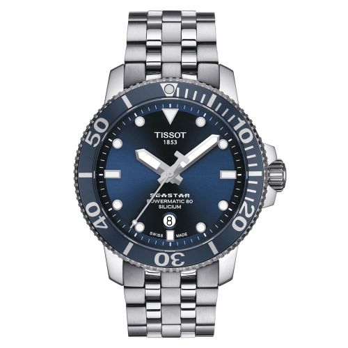 Tissot Seastar 1000 Powermatic 80 Silicium Blau 43mm Edelstahl-Armband Automatic T120.407.11.041.01