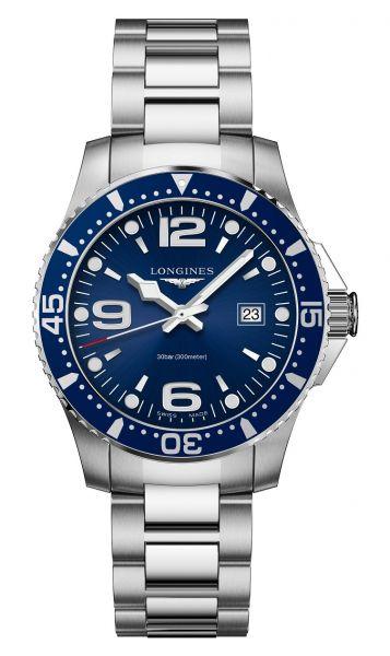 Longines HydroConquest 39 mm Quarz Blau Taucheruhr mit Edelstahl-Armband L3.730.4.96.6 | Sale | Uhren-Lounge