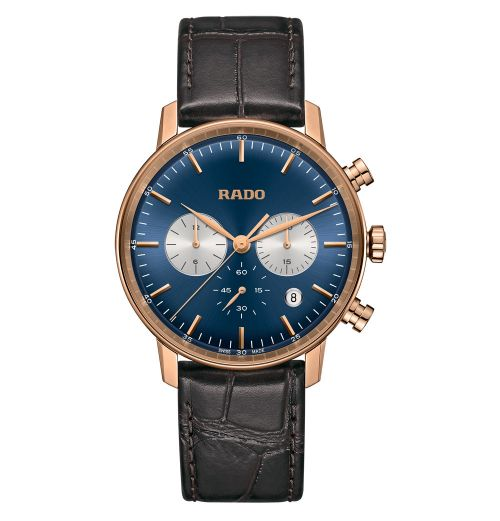 Rado Coupole Classic Chronograph XL Herren 42mm Rosegold Blau Leder-Armband Quarz R22911205