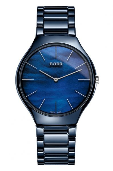 Rado True Thinline Water Blau 39mm Keramik Uhr Damen Quarz R27005902