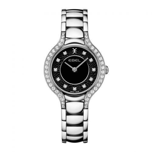 Ebel Beluga Damenuhr silber schwarz mit Diamanten & Edelstahl-Armband Quarz 1216466 | Uhren-Lounge