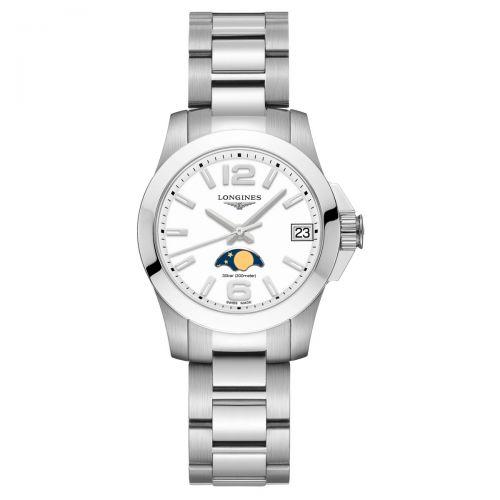 Longines Conquest Mondphase Damenuhr 29,5mm Silber Weiß Edelstahl-Armband Quarz L33804166
