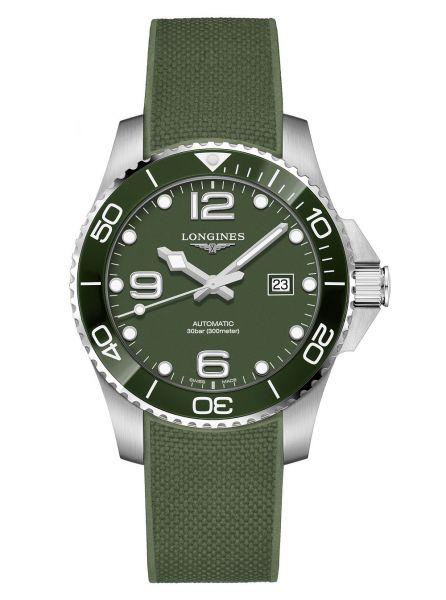Longines HydroConquest Grün Automatik 43mm Kautschuk-Armband Herrenuhr L3.782.4.06.9 | Uhren-Lounge