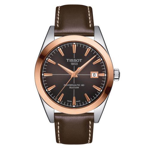 Tissot Gentleman Gold Powermatic 80 Silicium Rosegold Braun Leder-Armband T927.407.46.291.00 | Uhren-Lounge