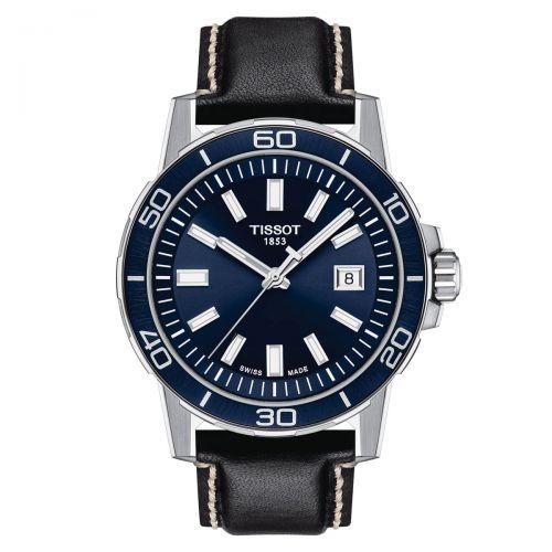 Tissot Supersport Gent Herrenuhr Blau Leder-Armband 44mm Quarz T125.610.16.041.00