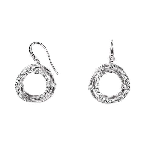 Marco Bicego Damen Ohrringe GOA 3cm aus 18kt Weißgold mit Diamanten OG309-A B2