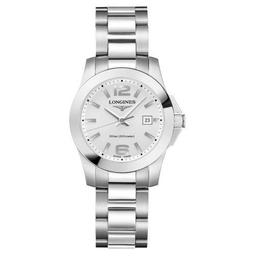 Longines Conquest Damenuhr 29,5mm Silbern Edelstahl-Armband Quarz L33764766