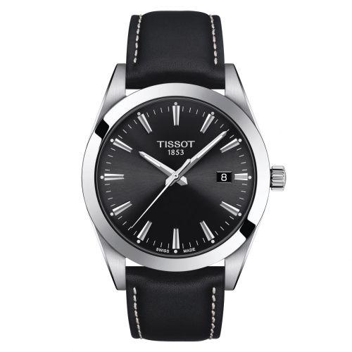 Tissot Gentleman Schwarz Leder-Armband Quarz Herrenuhr 40mm T127.410.16.051.00 | Uhren-Lounge
