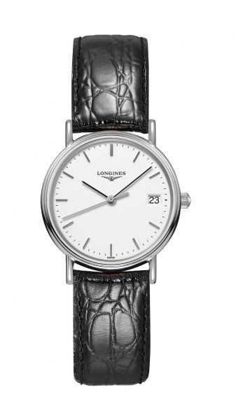 Longines Presence Damenuhr Silber Zifferblatt weiß Leder-Armband schwarz Quarz L4.320.4.12.2 | Uhren-Lounge