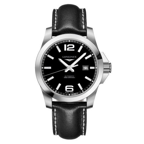 Longines Conquest Automatik 43mm Schwarz Leder-Armband Herrenuhr L3.778.4.58.3
