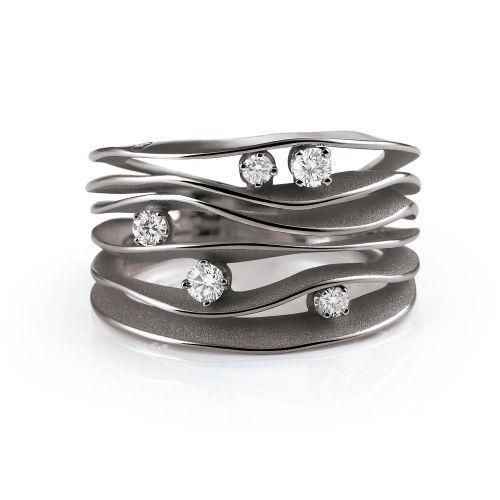 Annamaria Cammilli Dune Ring Black Lava Schwarz Gold mit Diamanten GAN0914E | Uhren-Lounge
