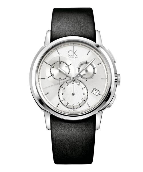 Calvin Klein Uhr Herren Chronograph silber Lederarmband schwarz Quarz 40mm drive K1V27820 | Uhren-Lounge