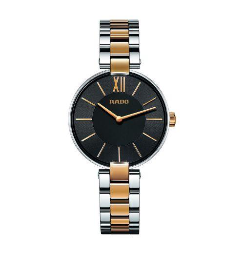 Rado Coupole Damenuhr Bicolor Rosegold mit schwarzem Zifferblatt 33mm Quarz R22850163 | Uhren-Lounge