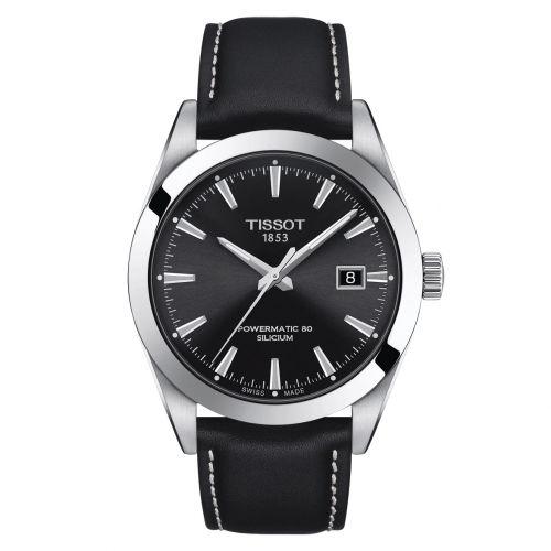 Tissot Gentleman Powermatic 80 Silicium Schwarz Leder-Armband Herrenuhr 40mm T127.407.16.051.00 | Uhren-Lounge