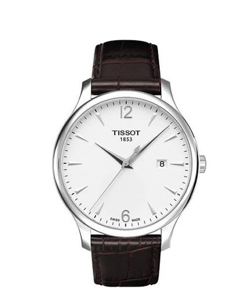 Tissot Tradition Herrenuhr 42mm Silber Zifferblatt Weiß Lederarmband Braun Quarz T063.610.16.037.00 | Uhren-Lounge