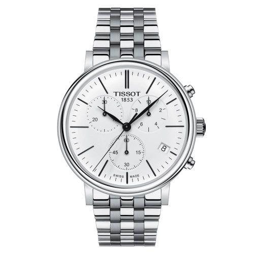 Tissot Carson Premium Chronograph Silber mit weißem Zifferblatt & Edelstahl-Armband T122.417.11.011.00 | Uhren-Lounge
