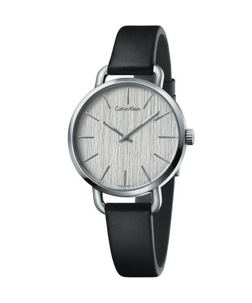 Calvin Klein Damenuhr Silber Schwarz mit Lederarmband even K7B231C6 | Uhren-Lounge