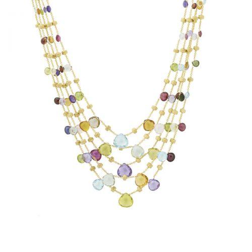 Marco Bicego Collier Paradise Halskette Gold mit Edelsteinen 5 Stränge CB2010 MIX01 Y