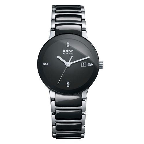 Rado Centrix Automatic Diamonds S Jubile Damenuhr mit Diamanten Schwarz Keramik-Armband R30942702
