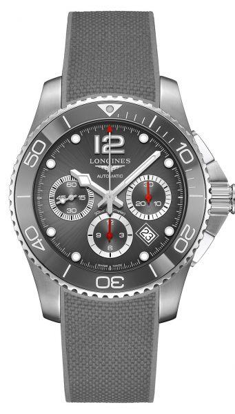 Longines HydroConquest Chronograph Grau 43mm Automatic Kautschuk-Armband L3.883.4.76.9 | Uhren-Lounge