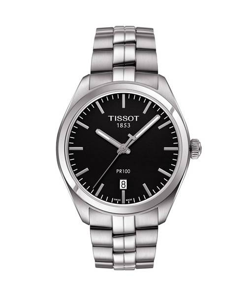 Tissot PR 100 Herrenuhr 39mm Silber mit schwarzem Zifferblatt Edelstahl-Armband Quarz T101.410.11.051.00