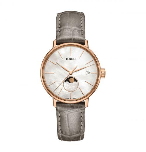 Rado Coupole Classic Damenuhr Mondphase Rosegold Perlmutt-Zifferblatt Graues Leder-Armband Quarz 34mm R22885945