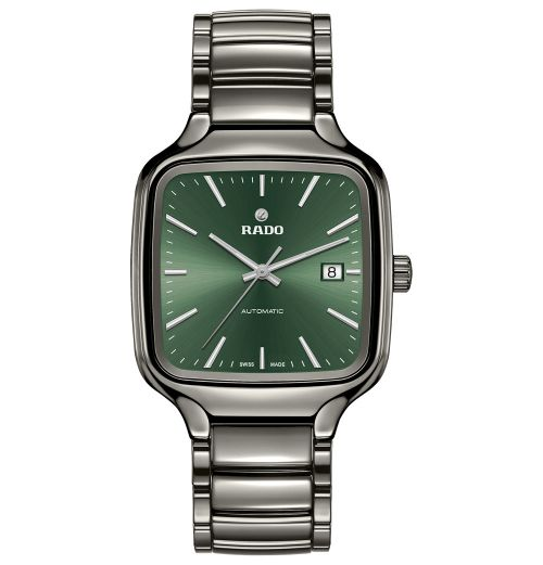 Rado True Square Automatic Herrenuhr viereckig Grau mit grünem Zifferblatt Keramik R27077312