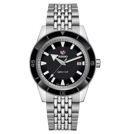 Rado Captain Cook Automatic Silber mit schwarzem Zifferblatt & Edelstahl-Armband 42mm R32505153
