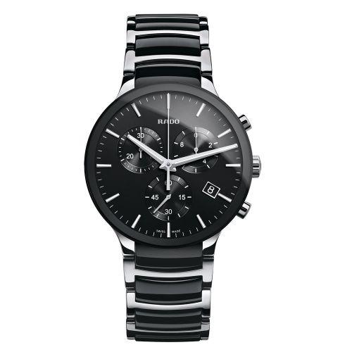 Rado Centrix Chronograph XL Schwarz Silber Herrenuhr 40mm R30130152