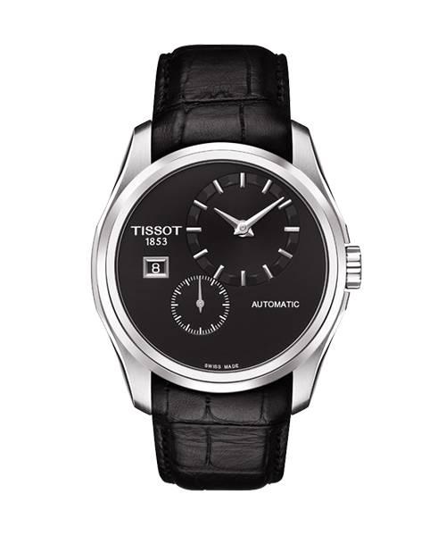 Tissot Couturier Automatic Herrenuhr 39mm silber Zifferblatt schwarz mit Lederarmband schwarz T035.428.16.051.00 | Uhren-Lounge