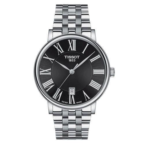 Tissot Carson Premium Silber Schwarz Edelstahl-Armband Herrenuhr 40mm Quarz T122.410.11.053.00