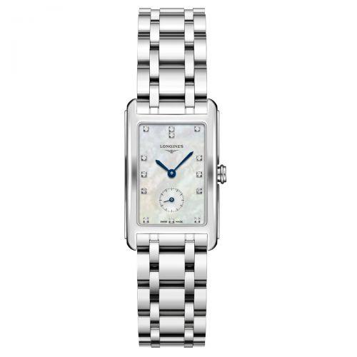 Longines DolceVita Damenuhr Silber mit Diamanten Perlmutt Edelstahl-Armband 37mm Quarz L5.512.4.87.6