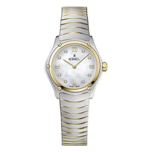 Ebel Sport Classic Mini Damenuhr Bicolor Perlmutt Zifferblatt Weiß mit Diamanten 24mm 1216442A | Uhren-Lounge