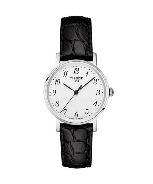 Tissot Everytime Lady Silber Weiß Lederarmband Schwarz 30 mm Quarz Damenuhr T109.210.16.032.00 | Uhren-Lounge