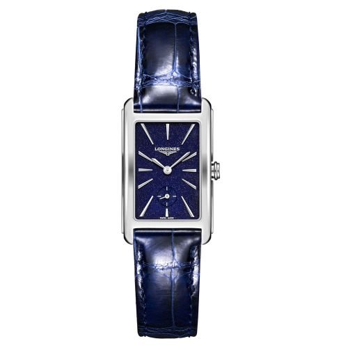 Longines DolceVita Herrenuhr mit blauem Zifferblatt & Leder-Armband 37mm Quarz L5.512.4.93.2