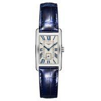 Longines DolceVita Damenuhr 37mm Silber mit blauem Leder-Armband Quarz L5.512.4.71.7