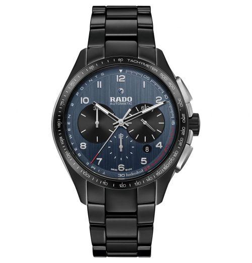 Rado HyperChrome Match Point Automatic Chronograph XXL 45mm Schwarz Blau Keramik-Armband R32525202 | Uhren-Lounge