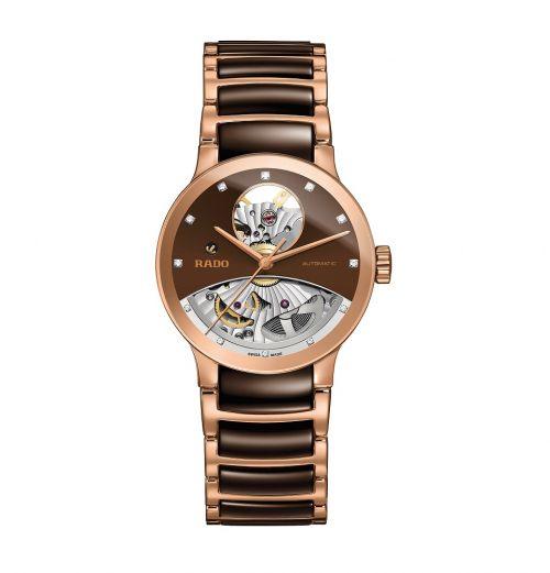 Rado Centrix Automatic Diamonds Open Heart Rosegold Braun Damenuhr mit Diamanten 33mm R30248712 | Uhren-Lounge