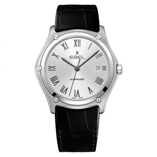 Ebel Sport Classic Gent Automatik Uhr Herren 40mm silber Leder-Armband schwarz 1216457 | Uhren-Lounge