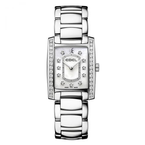 Ebel Brasilia Damenuhr mit Diamanten Silber Perlmutt-Zifferblatt Edelstahl poliert Quarz 1216463