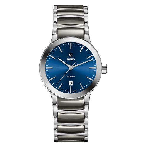 Rado Centrix S Damenuhr Automatik Grau mit blauem Zifferblatt & Keramik-Armband 28 mm R30011202