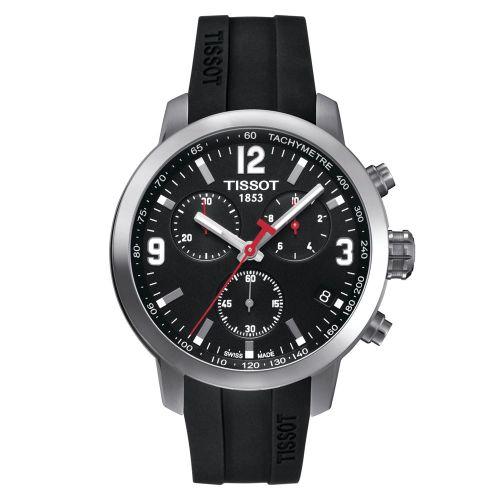 Tissot PRC 200 Chronograph Silber Schwarz Kautschuk-Armband Quarz 42mm Herrenuhr T055.417.17.057.00